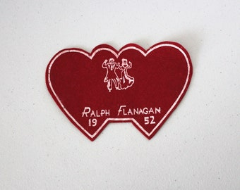 Vintage 1952 Ralph Flanagan Dance Felt Heart Couple Sweethearts Patch, Big Band, Orchestra