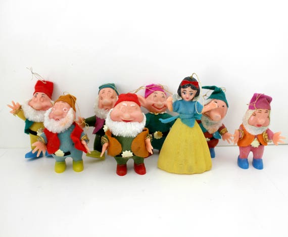 Vintage Snow White Seven Dwarfs Christmas Tree Ornaments in Box, Walt Disney French Canada