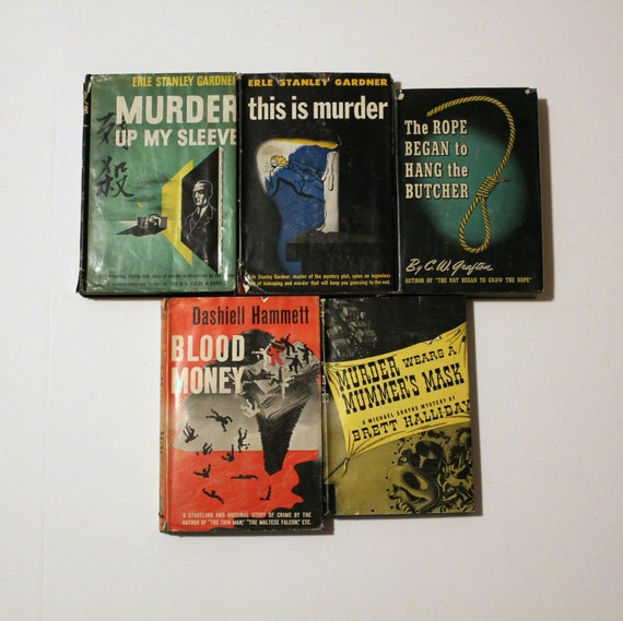 Lot 5 Vintage Murder Mystery Detective Books, 1940s, Gardner Halliday Hammett Grafton, Blood Money, Rope Butcher, Tower Mystery