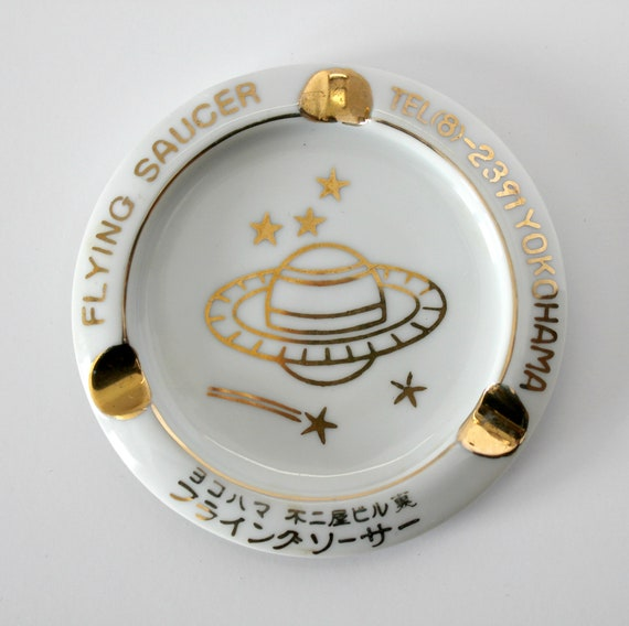 Vintage Yokohama Japan Flying Saucer Ashtray K Wakabayashico, Restaurant Club Saturn Space Planet