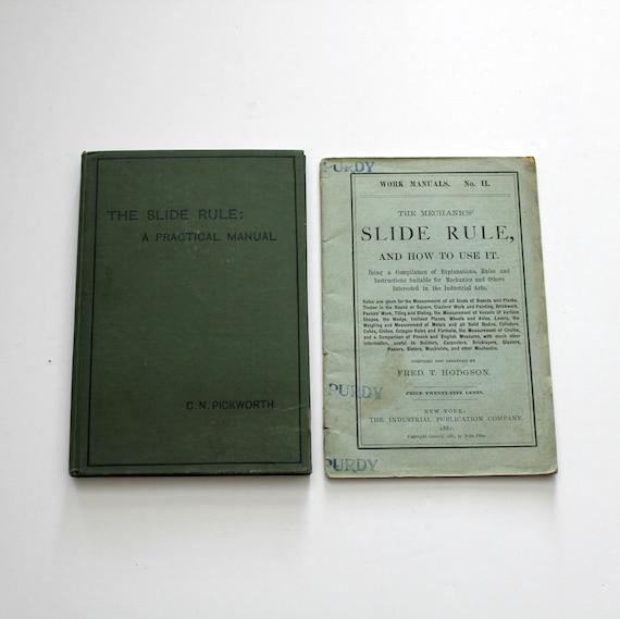 Antique Slide Rule Manuals Books, 1900s Picworth, Hodgson, Mechanics, Engineering