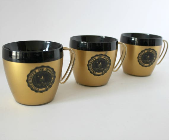 Vintage University of Notre Dame Coffee Mugs Cups Set of 3, West Bend Thermo Serv