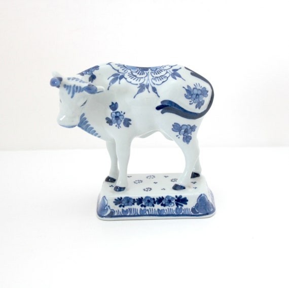 Vintage Delft Blue Cow Figurine, Delftware Pottery Floral Cow Figure
