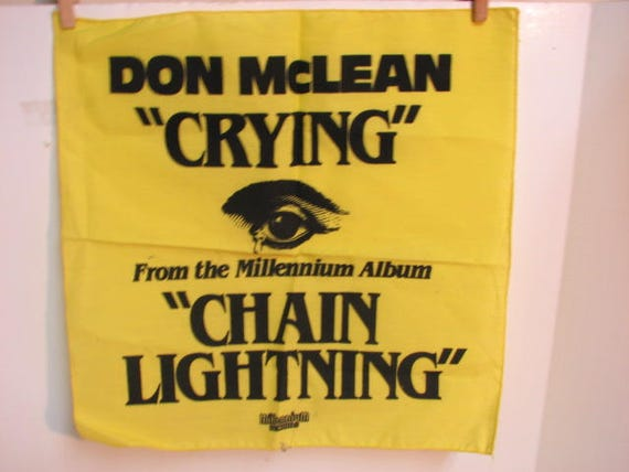 Vintage Don Mclean Crying Promotional Hankie Cloth, LP Promo, Millennium Records Chain Lightning Album 1978