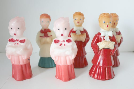 """Vintage Gurley Candles Lot, 6 Choir Boy Mixed Red, Pink, White Robes, Large 6.5"""" - 7"""" Tall"""