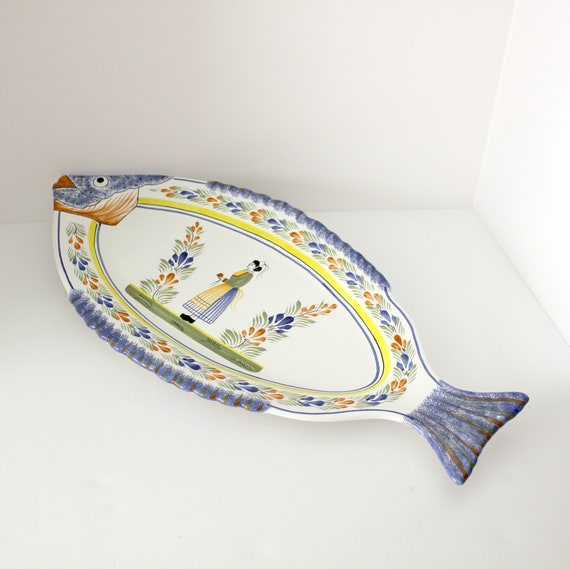 Vintage Quimper Large Platter, Fish Tray, HB Henriot France 1960s,