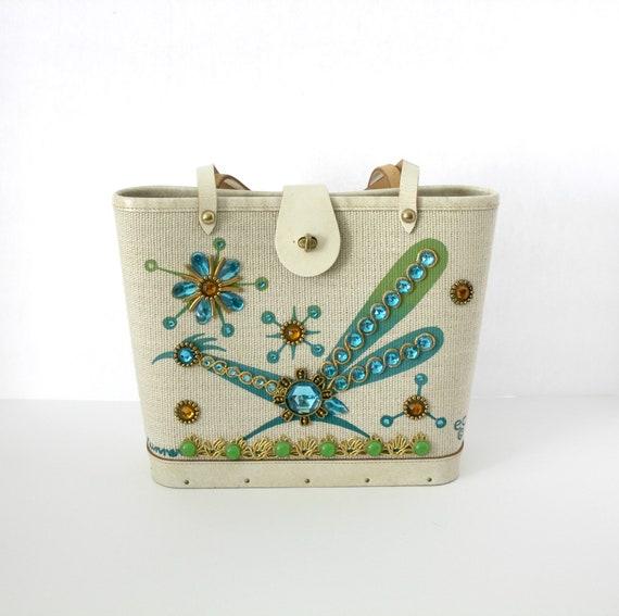 Vintage Enid Collins Roadrunner Purse, Jewel Bucket Purse Hand Bag EC Bird