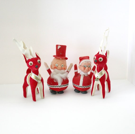 Lot 4 Vintage Plush Christmas Santa Mrs Claus Two Reindeer, 1960s Christmas Decor