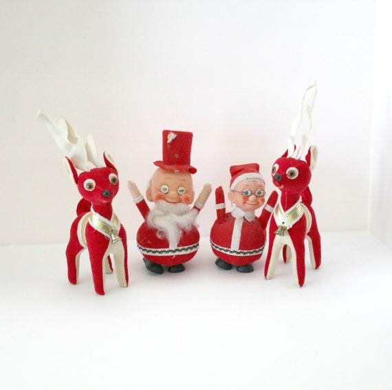 Lot 4 Vintage Plush Christmas Santa Mrs Claus Two Reindeer, 1960s Christmas Decor