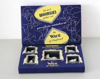 Whimsies Porcelain Miniatures Polar Set No 6 by Wade England in Box, Polar Bears, Penguin, Baby Seal, Husky dog.