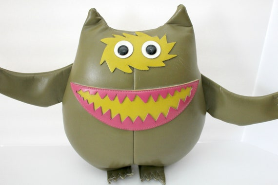 Vintage Nauga Monster, 1960s Naugahyde Stuffed Scary Pillow Doll