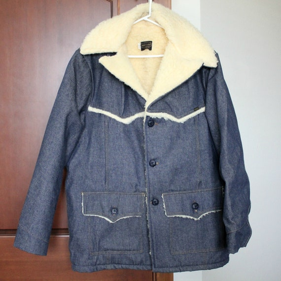 Vintage Roebucks Denim Blue Jean Jacket | Sears Sherpa Lined Work Coat 46R