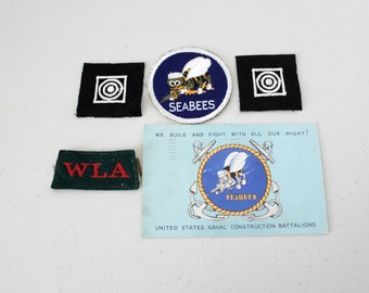 Lot of WWII Seabees Military Patches, Postcard, Navy, WLA Womens Land Army Shoulder Slip