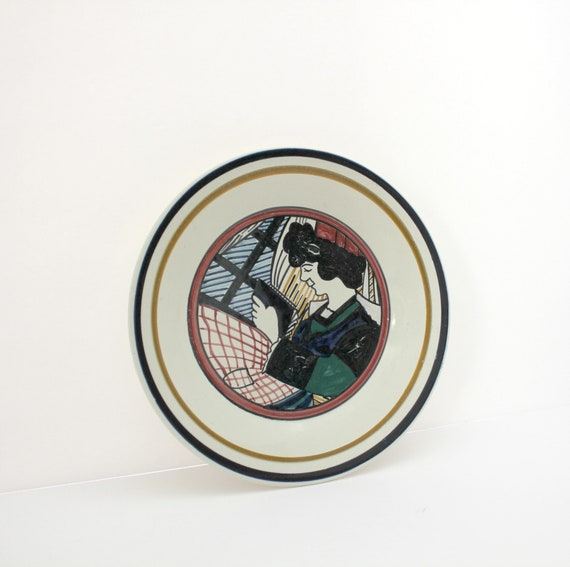 Vintage HB Quimper Breton Dish Plate, Pottery, Woman Reading Book