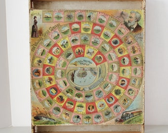 The World's Globe Circler, Nellie Bly, Jules Verne Game Board Print Display, Rare, Unique, Around The World