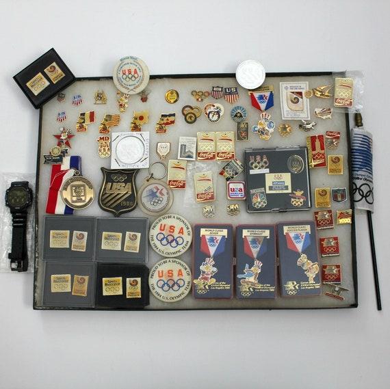 Vintage Lot USA Olympics Medals Pins Keychains Watch Flag Memorabilia 92 Barcelona 1984 Los Angeles 1980 Lake Placid 1996 Atlanta 1988 Seoul