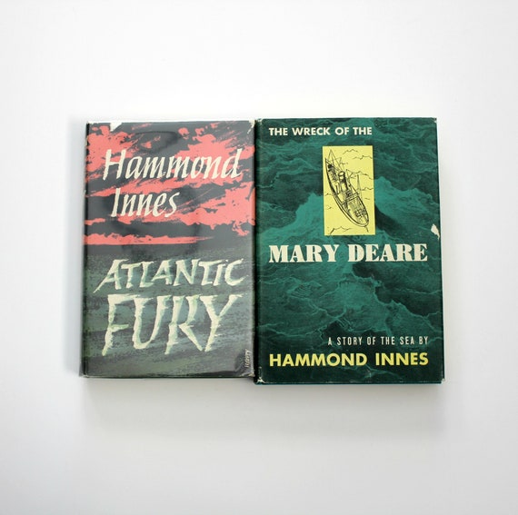 2 Vintage Hammond Innes 1st Edition Books, Wreck Of The Mary Deare First Ed 1956| Atlantic Fury First Edition 1962