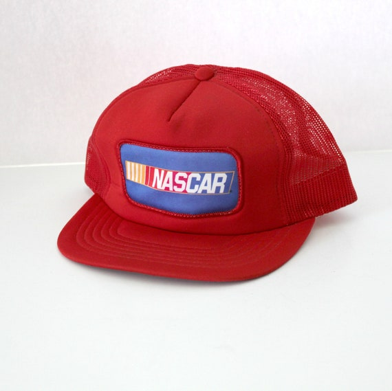 Nascar Logo Patch Red Mesh Trucker Cap, Adjustable