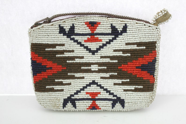 Native American Beaded Coin Purse Pouch Eagle USA Flags Beads Vintage 1950s