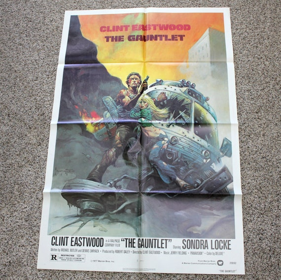 "The Gauntlet 1977 Vintage Movie Poster, Frazetta Original One Sheet 27"" x 41"" Size, Clint Eastwood"