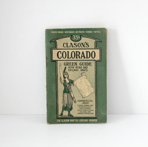 Vintage Clason's Colorado Green Guide Auto Road Railway Maps 1940s