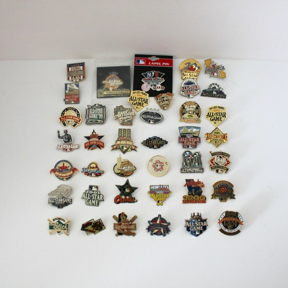Lot 40 MLB All Star Game Pins, Press, Major League Baseball Memorabilia