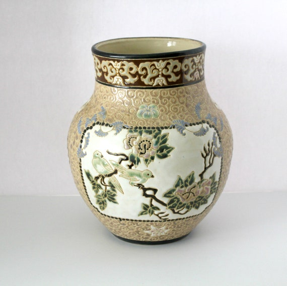 Vintage Dona Vase Vietnam, Large Brown with Birds, Floral, Leaves, Blue, Green, Cream, Beige