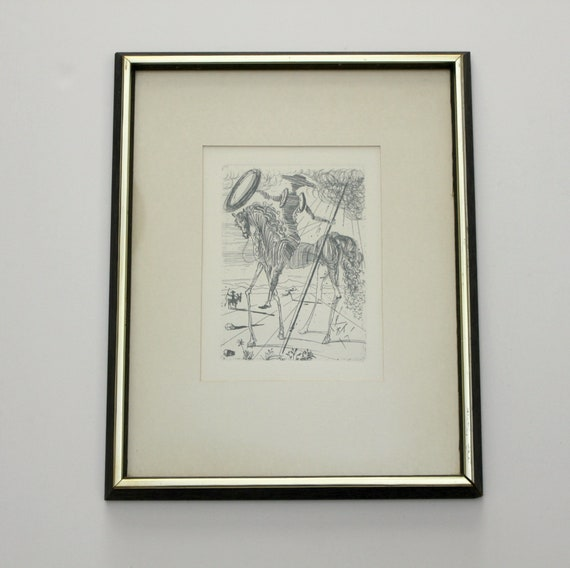 Vintage Salvador Dali Don Quixote Print, Signed Etching in Plate, Authenticated