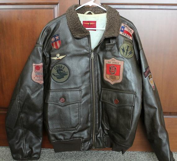 Vintage Faux Leather Bomber Jacket Mens XL 1980s w/ Patches, Juneau Sportswear