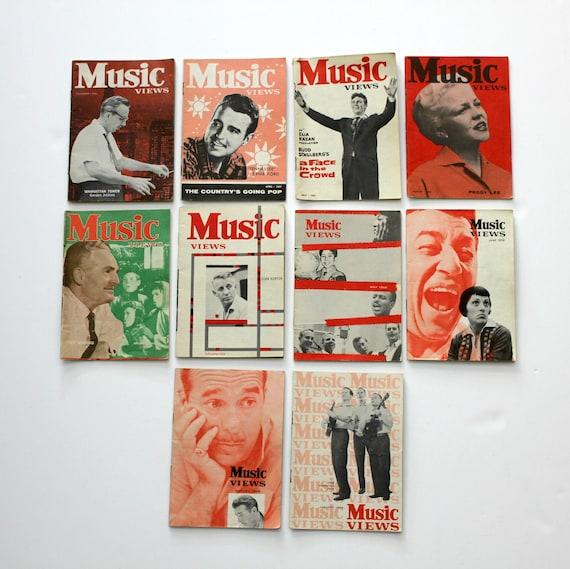 Music Views Magazine Lot 10 1956 - 1959 Kingston Trio, Peggy Lee, Ernie Ford, Stan Kenton, Fred Waring, Dean Martin, Gene Vincent