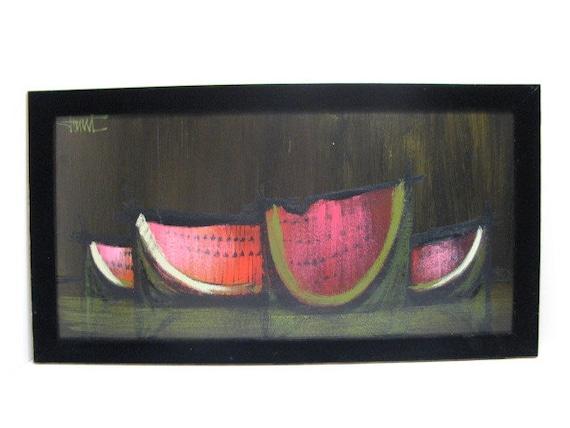 Vintage Watermelon Serigraph Print, 26x14 Abstract Dark Still Life W/ Velvet Frame, 1960s Mid Century Signed Art