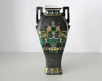 Royal Nippon Nishiki Vase, Egyptian, Enamel, Gray Green Yellow