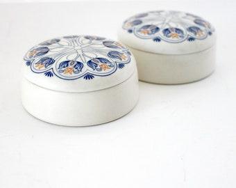 Royal Goedewaagen Amata Set of 2 Trinket Boxes Blue White Art Nouveau
