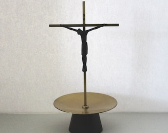 Vintage Standing Crucifix, Mid Century, Carved Ebony Wood, Brass with Tray