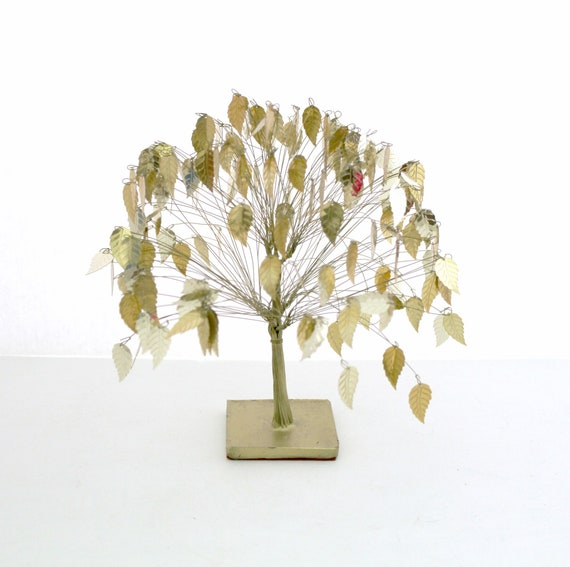 Gold Leaf Tree, Mid Century Golden Leaves, Small Vintage Metal Tree.