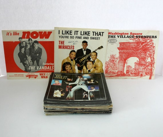 Vintage 45 rpm Vinyl Record Picture Sleeve PS Lot of 56, 1960s - 80s
