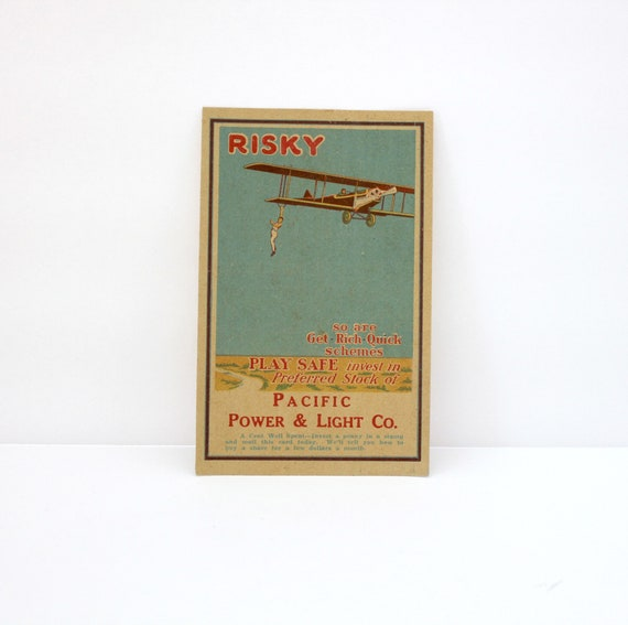 Vintage 1920s PP&L Postcard Stock Investment with Barnstormer Biplane Airplane, Pacific Power Light