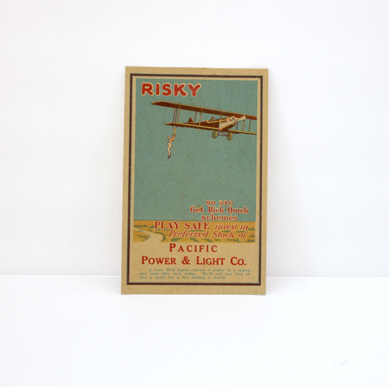 Vintage 1920s PP&L Postcard Stock Investment with Barnstormer