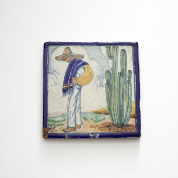 1930s Vintage Mexican Tile, Man Cactus, Clay Tile Painted