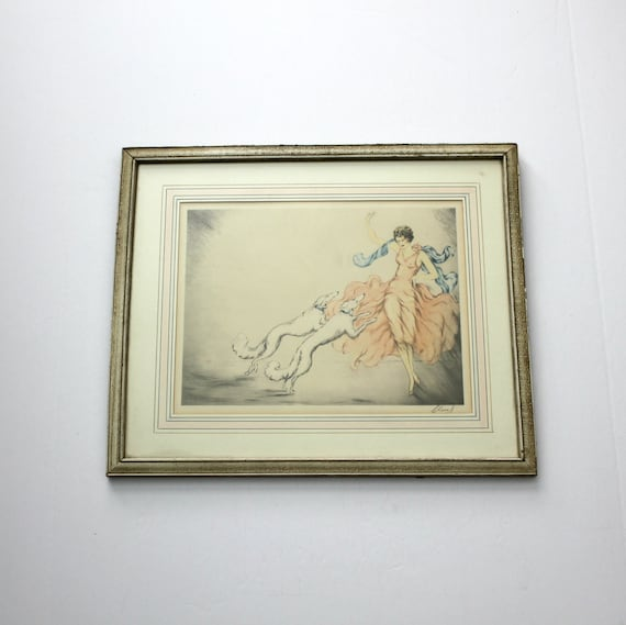 Antique Claudius Chanel Lady with Hound Dogs Print 1930s Art Deco Signed Framed