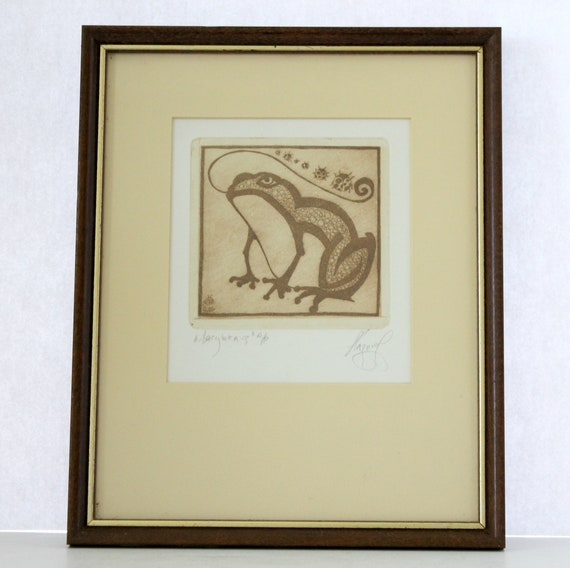 Vintage Wood Block Print of Frog and Ladybugs | Signed and Framed