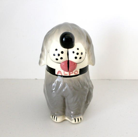 Vintage Alpo Dan The Dog Treat Jar, McCoy Ceramic Gray Sheep Dog