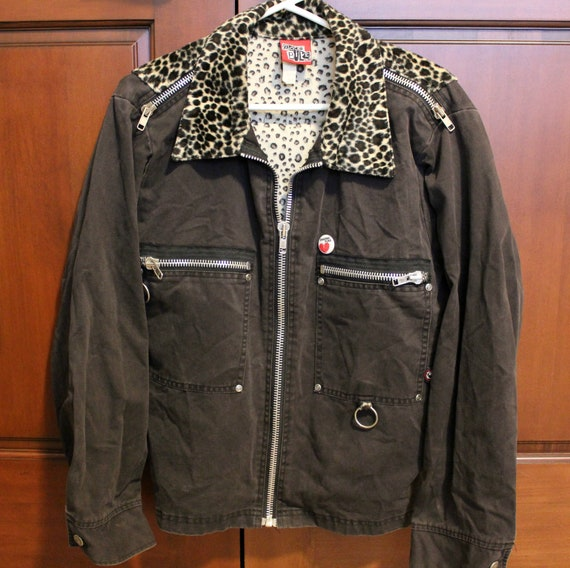 Vintage DogPile Punk Rock Jacket | Dog Pile Faux Leopard Brown Canvas Motorhead Sz Medium