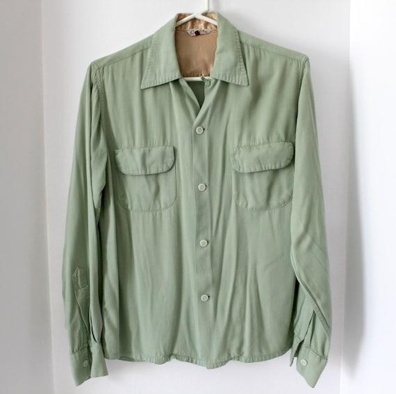 Vintage 50s Mens Gabardine 2 Flap Pocket Long Sleeve Shirt Size Small
