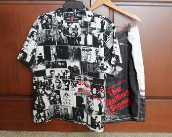 Rolling Stones Shirt Shorts Set, Exile on Main Street, Sticky Fingers, Dragonfly, Button Down, Size M Medium