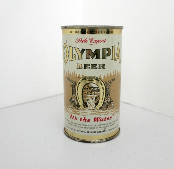 Vintage Olympia Pale Export Beer Can, 1933 12 ounce Flat Top It's The Water