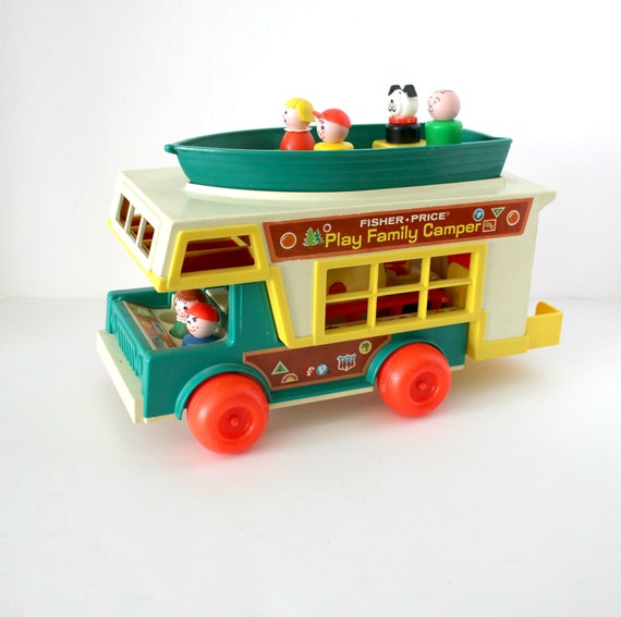 1972 Fisher Price Play Family Camper, Vintage FP Camping Boat Toy