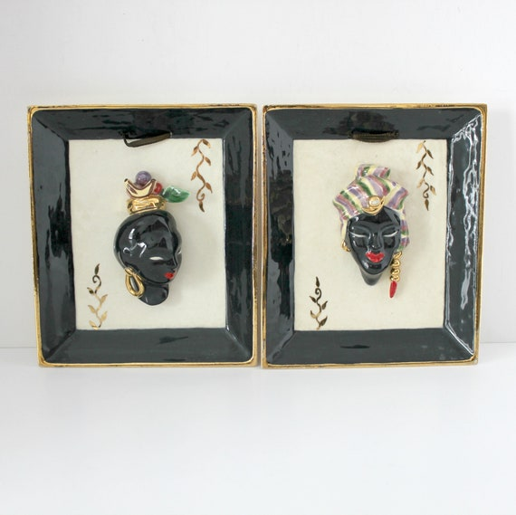 Pair Vintage Blackamoor Bettina Plaques, Ceramic Wall Hangings