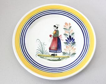 Henriot by Quimper Center Lady Plate, France, Vintage Hand Painted