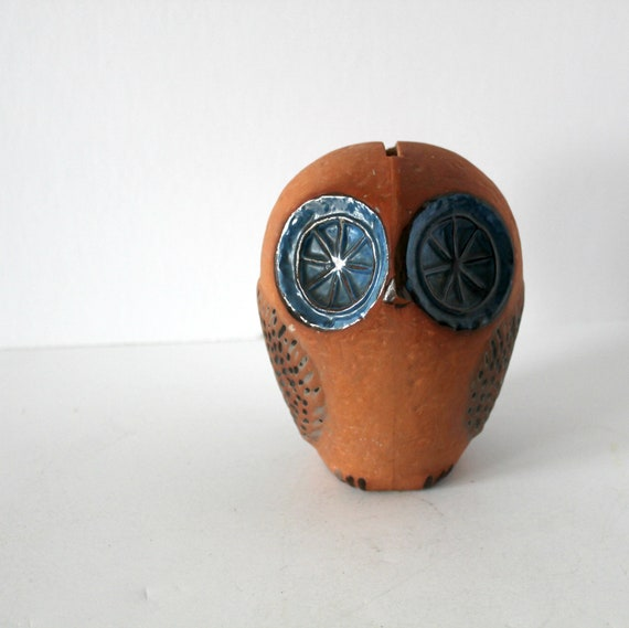 Vintage Rorstrand Owl Bank Sculpture, 1960s Sweden Art Pottery